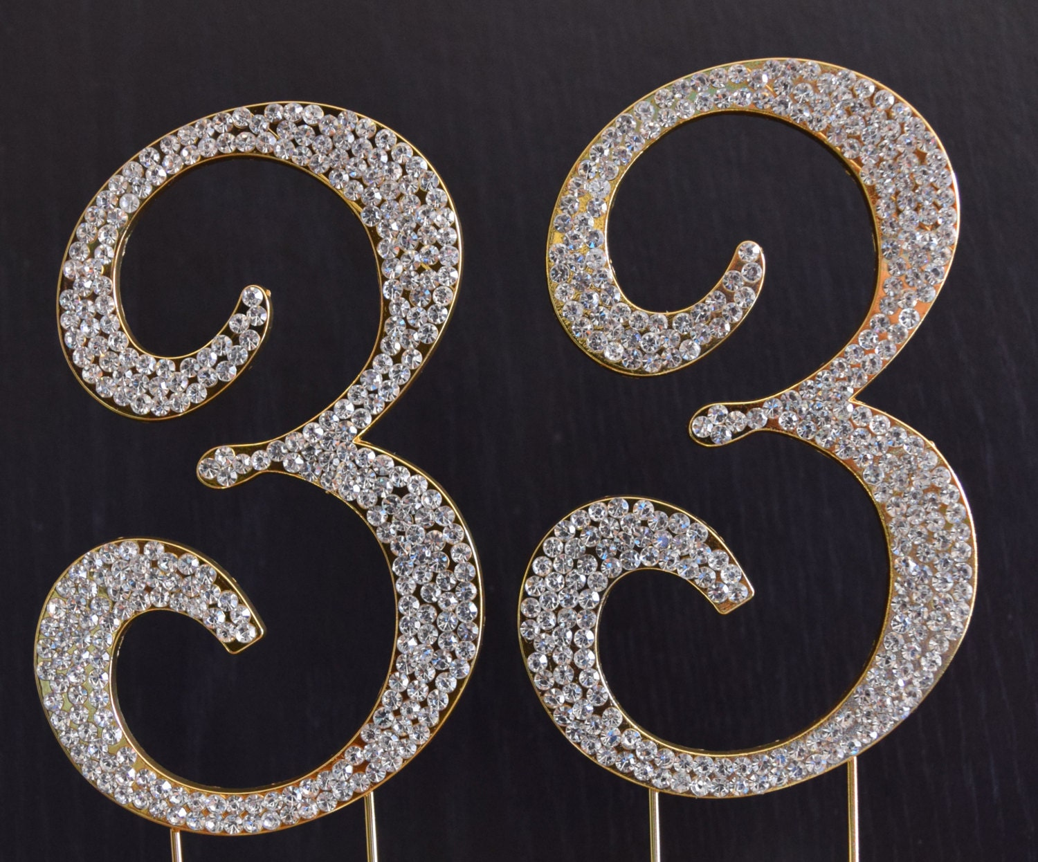 Rhinestone Gold NUMBER 33 Cake Topper 33rd Birthday Party
