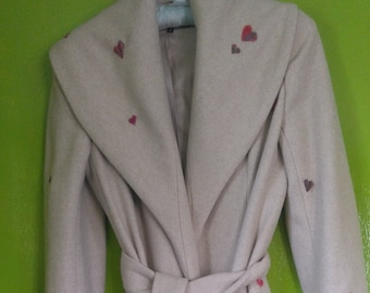 Hand-Embroidered Wrap Coat in Beige Wool