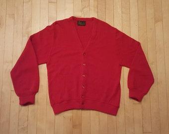 60s 70s Red Cardigan Sweater JC Penney Crimson 07246b1cd