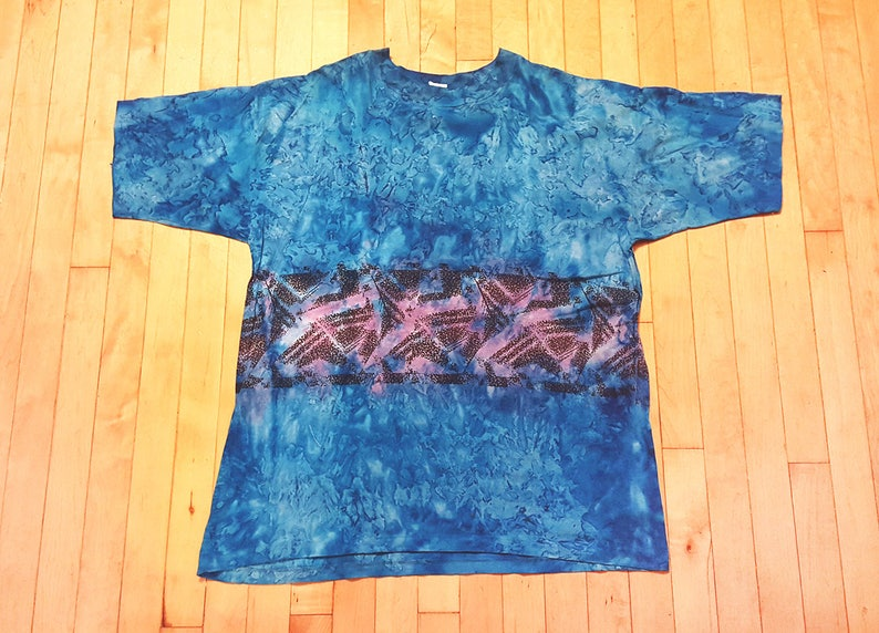 25584540190f Vtg early 90s Surfer Tie-Dye T Shirt all-over print Blue