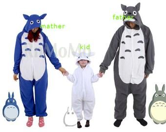Combined 3 onesies Totoro family Xmas KIGURUMI Cosplay Nightclothes Pajamas  Pyjamas Costume outfit Sleepwear b056c5668