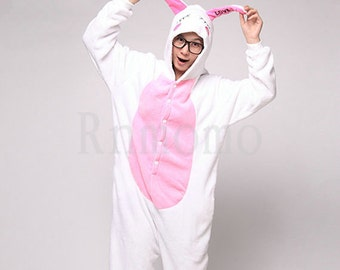 cabbae199ab3 Love Rabbit Pajamas Sets Adult Onesie Pajamas for Women Men Boy Girl  Flannel Pajamas Unisex Animal Cosplay (Without Slipper)