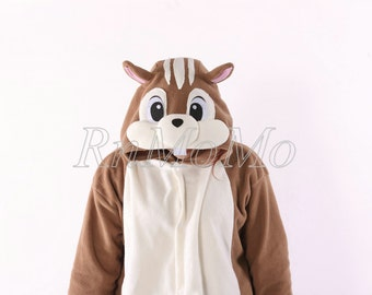 squirrel kigurumi animal one piece pajamas pjs pyjamas costume adult onesie unisex romper cosplay xmas halloween gift sleepwear nightwear