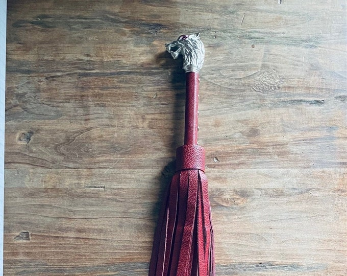 Deep Red Leather Wolf Flogger