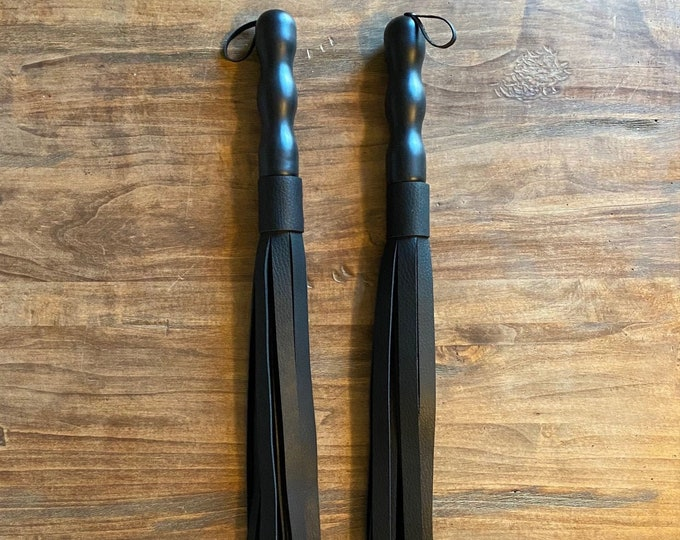 Black Thick Leather Flogger