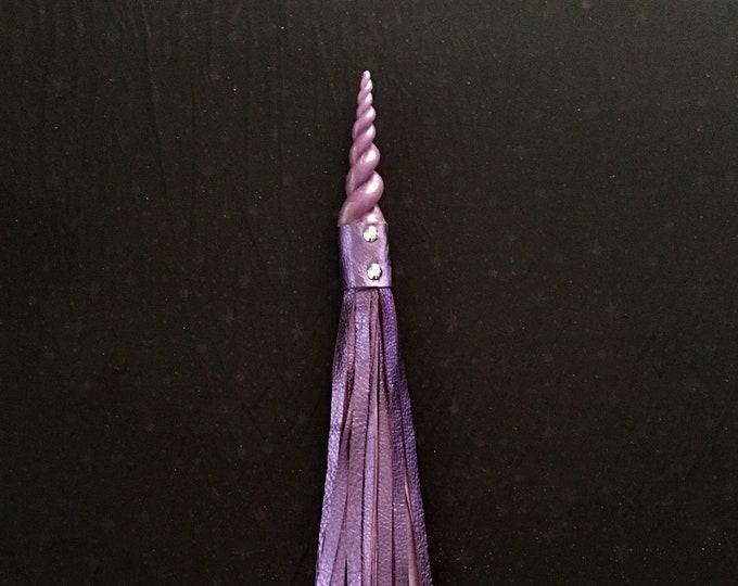 Sparkly Purple Unicorn Horn Handled Flogger