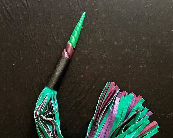 Unicorn Horn Handled Flogger in Metallic Purple & Green