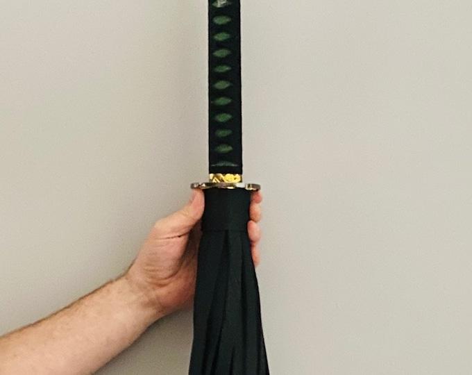 """HEAVY Black & Green Katana Handled Flogger with 30"""" Falls"""