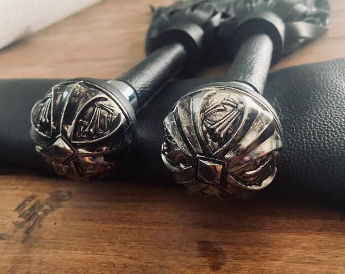 Black & Metallic Gunmetal Gothic Flogger