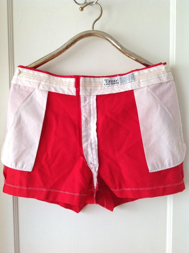 Vintage LACOSTE Shorts szXL Authentic 1960s IZODLACOSTE Bright Red Blue Crocodile Adjustable Waist Shorts