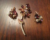 Juliana Flower Brooch and Earrings with Amethyst and AB Pink Rhinestones