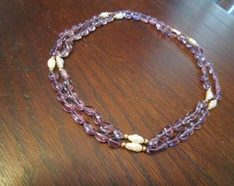 Amethyst Glass and Fresh Water Pearls