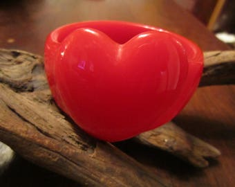 Red Resin Bangle with a Large HeaRT