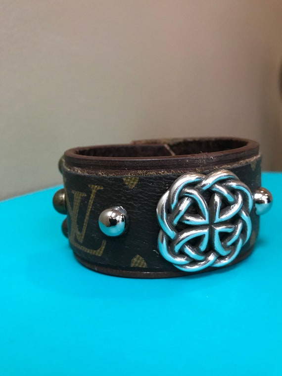 Handcrafted Repurposed Louis Vuitton leather bracelet  2d6e3afe17022