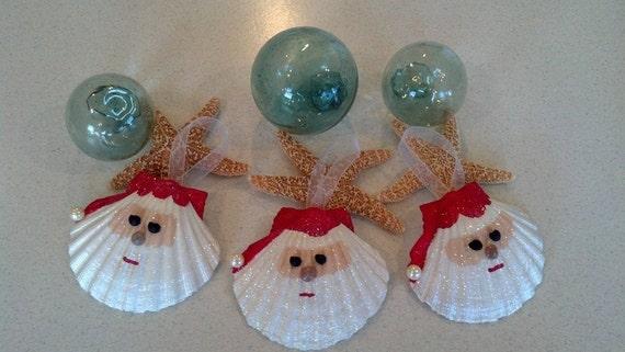 Santa Seashell Christmas Ornament Beach Decor Nautical | Etsy