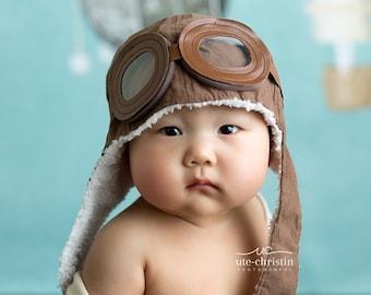 Baby Boy Toddler Aviator Hat UP movie prop pilot hat bomber hat in brown c30f44873c2f