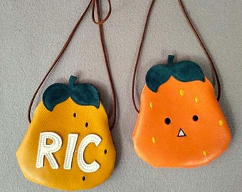 Handmade Girls Fruit leather Bag/Pear Fruit Letter Handbag/Toddler Kids Coin Purse/Children's Wallet/Gift Bag-- Ready to ship