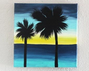 Yellow Ocean Sunset 10X10 Original Painting