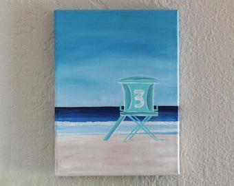 Lifeguard Tower 9X12 Original Painting