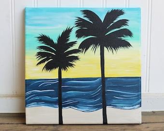 Yellow Sunset Palms 10X10 Original Painting