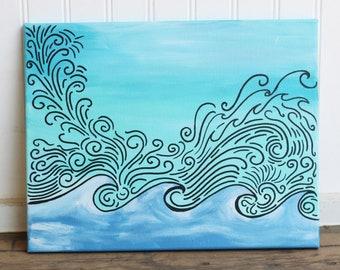 Rays of Waves 11X14 Original Painting
