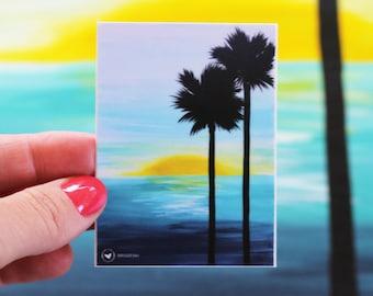 Ocean Palms Painting Sticker, 3X3