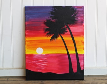 Magenta Sunset 11X14 Original Painting