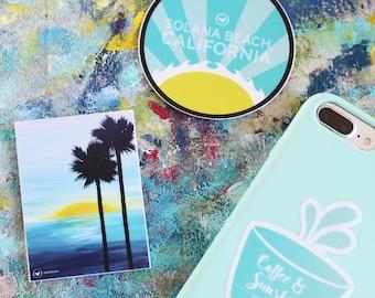 Beach Sticker Pack, Includes (3) 3X3 Stickers