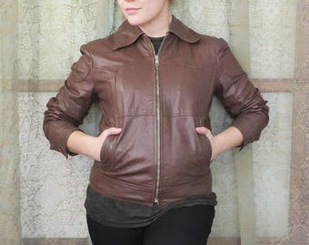 1970s Brown Leather Bomber Jacket Brazilia Moto Vintage Outerwear Short Hipster 70s