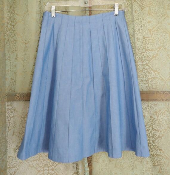 1960s Blue Denim Look Skirt Vintage Midi Skirt Bu… - image 5