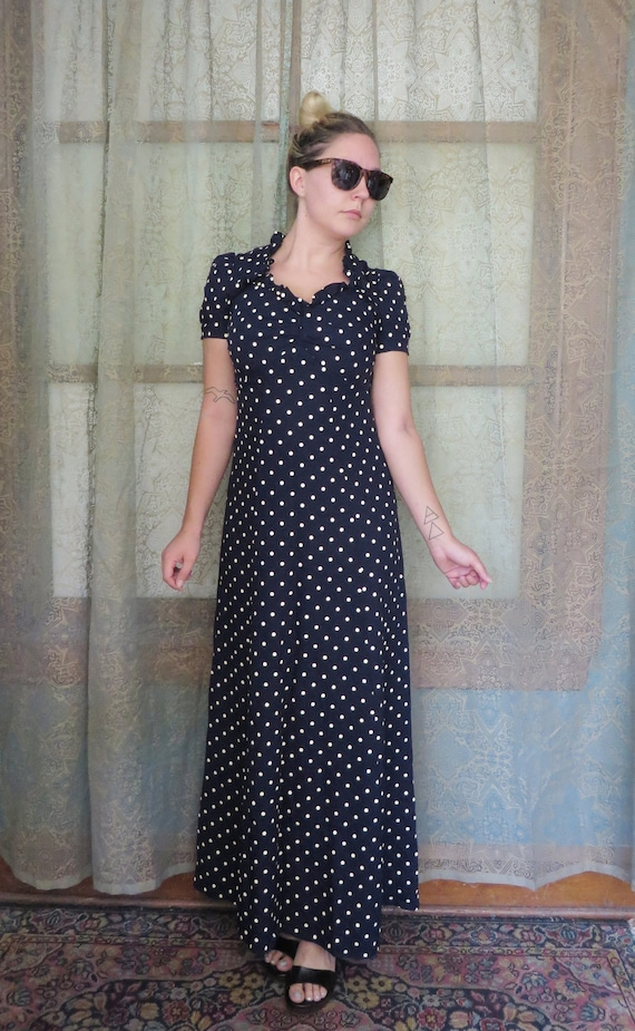 Vintage 70s does 30s Navy Polka Dot Maxi Dress Lon