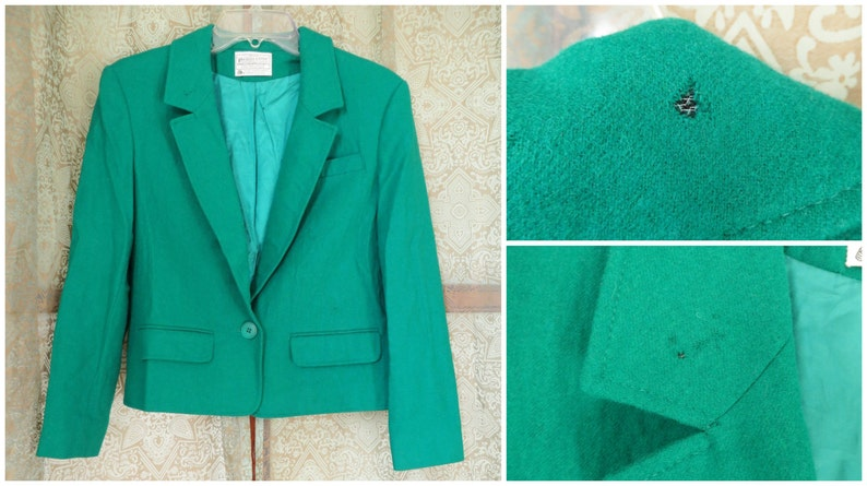 ON SALE 1950s Miss Pendleton Emerald Green Suit Vtg Wool Suit 50s Skirt Suit Matching Jacket Skirt 2 pc Jackie O Mad Men 50s Wool Green Suit