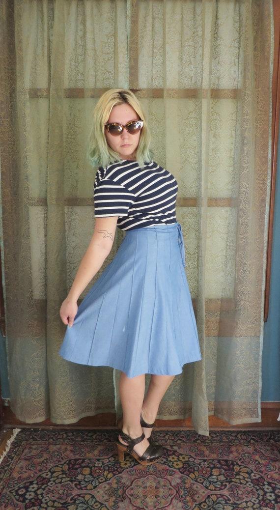 1960s Blue Denim Look Skirt Vintage Midi Skirt Bu… - image 2
