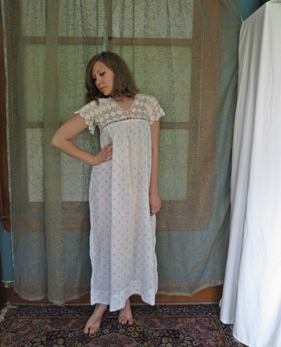 1930s Crochet Yoke Nightgown 30s Floral Nightie Dr