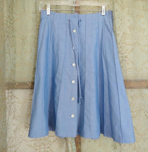 1960s Blue Denim Look Skirt Vintage Midi Skirt Bu… - image 4