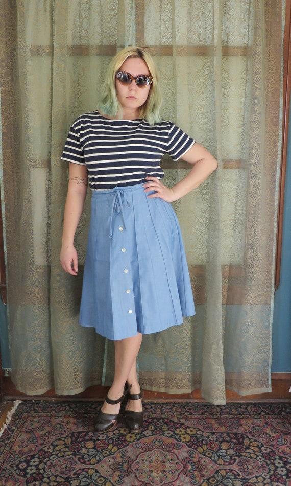 1960s Blue Denim Look Skirt Vintage Midi Skirt Bu… - image 1