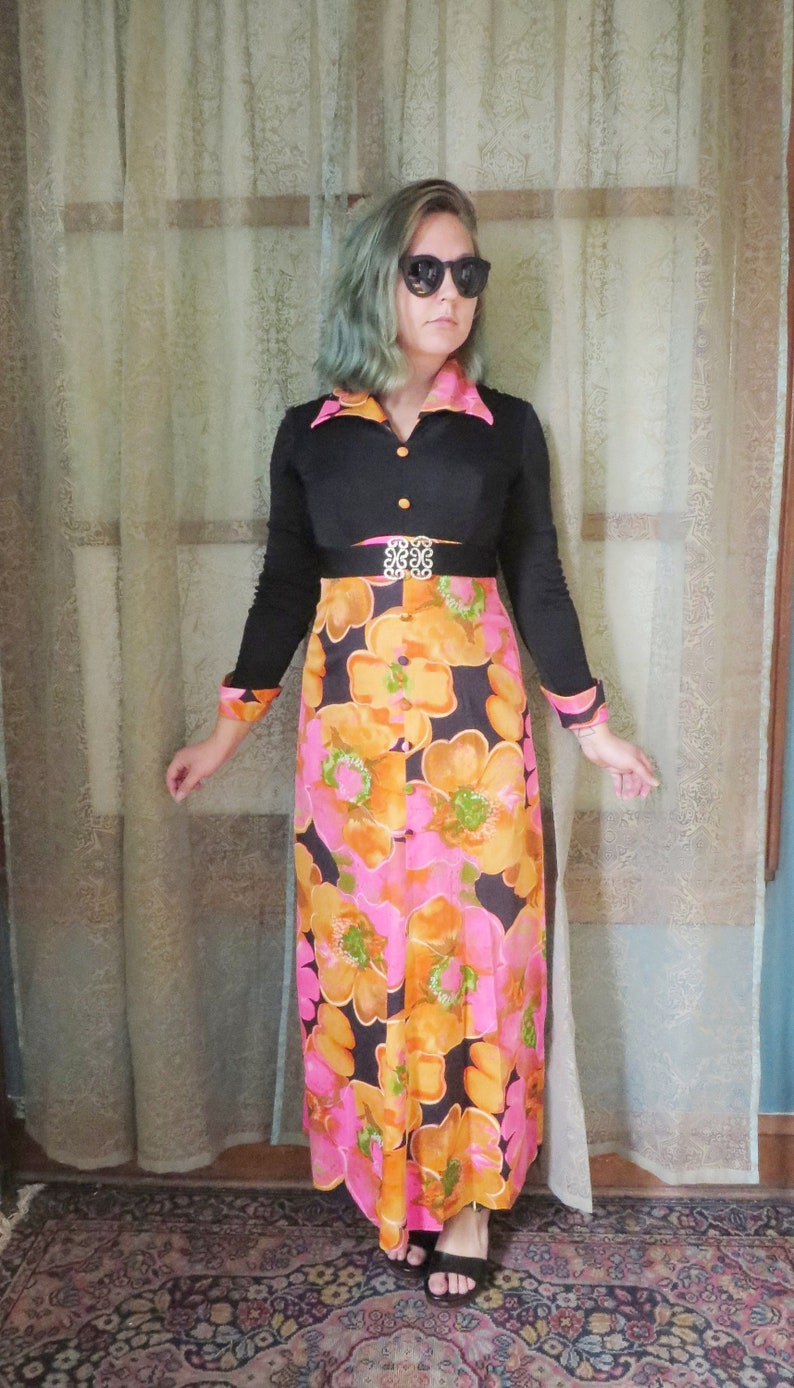 ed2662d03e 1970s Black Orange Pink Floral Maxi Dress 70s Hostess Dress
