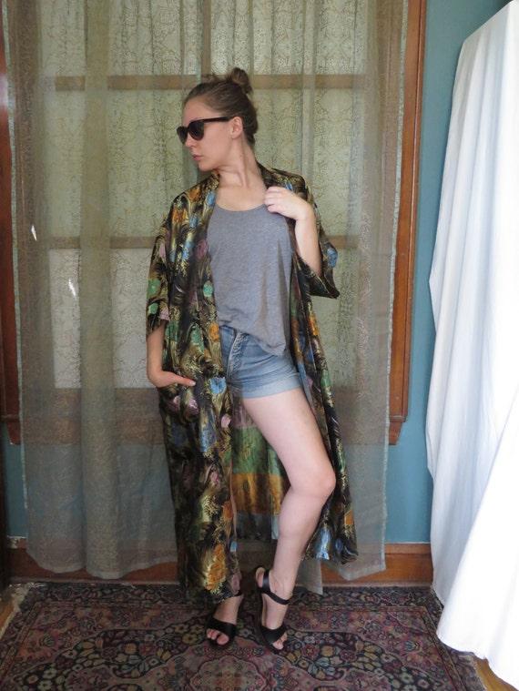 Vintage Black Brocade Kimono Boho Kimono Long Kimo