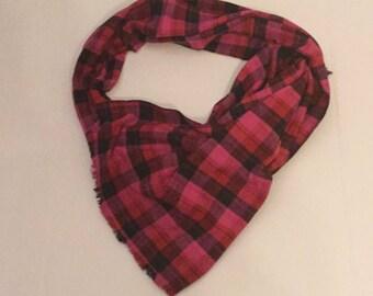 Pink and Black Plaid Blanket Scarf/Plaid  Blanket Scarf/Winter Scarf, Oversized Scarf, Plaid Tartan Scarf, chunky scarf, wrap, shawl