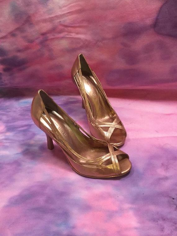 f76120aac0b Metallic Rose Gold Copper Gold Open Toe Ladies Pumps Peep