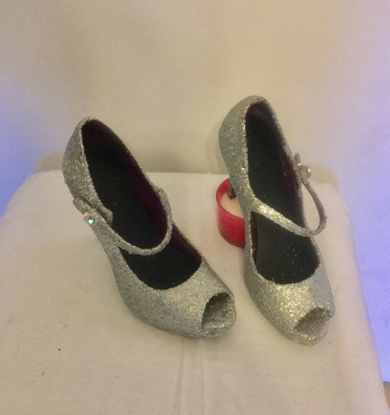 5ff8da08bd3 Sparkly Silver Holographic Glitter Heels/Prom Heels/Ladies Shoes/Size 5.5  Shoes, Silver Shoes/Open Toe Pumps, Size 5 1/2 Women's Heels