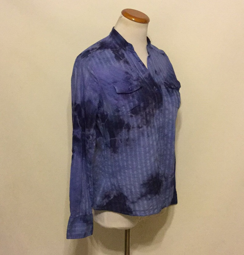 Long Sleeve Upchpycled Hand Dyed Button Down Ladies Top Long Sleeve Button Down Women/'s Tie Dyed Top Size Medium Denim Blue Ladies Blouse