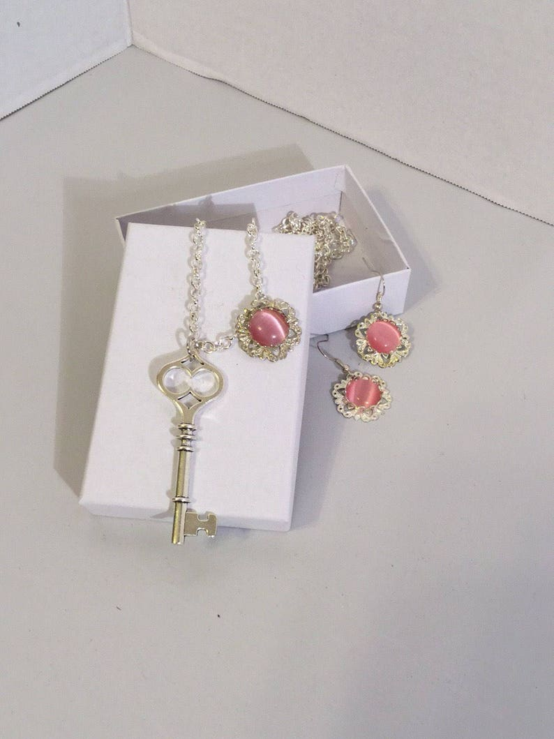 Jewelry Set Sweater Jewelry Necklace with a Key Pendant Key Necklace with Matching Earrings Key Pendant