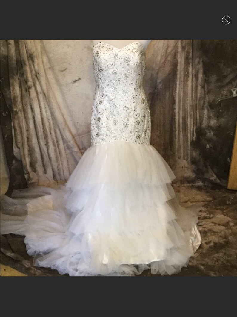 Wedding Dress Create.Create Your Dip Dyed Ombre Wedding Dress Customizable Wedding Dress Strapless White Tulle Wedding Dress Beaded Mermaid Wedding Dress