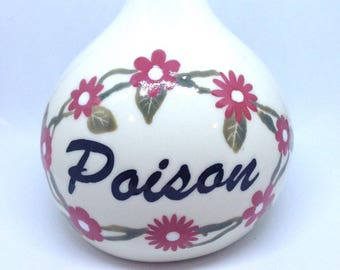 Witches Poison Potion Bottle Red Flowers handmade hand made OHIO USA tattoo ceramic pottery