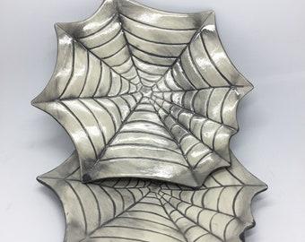 Set of 2 Small Grey Distressed Spider Web Spiderweb Lunch Plates Ceramic Pottery OHIO USA handmade tattoo gothic horror halloween