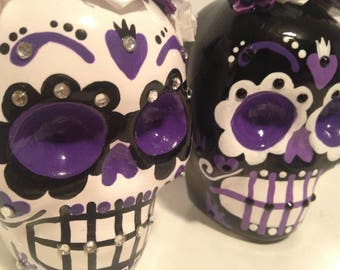 Sugar Skull Wedding Cake Toppers Custom 4 Inch Tall Handmade Hand Made Ceramic Pottery OHIO USA