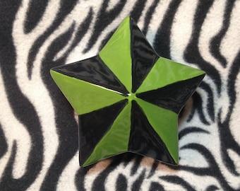 Green and Black Ceramic Nautical Star Jewelry Box handmade hand made USA OHIO pottery Rockabilly