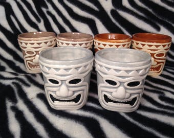 Set of 2 Tiki Shot Glasses Handmade Hand Made OHIO USA Hawaiian Polynesian Beach