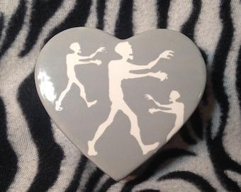 Little Grey Zombie Heart Box Handmade Hand Made OHIO USA Pottery Ceramics Tattoo walking dead